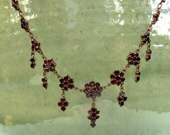 Antique Bohemian Garnet Dangle Necklace Czech Garnets Deep Red Necklace Alternative Bride