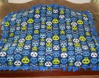 Digital Skulls on Navy Blue Medium Blue Back Fleece Tie Blanket No Sew Fleece Blanket Fleece Throw No Sew Throw 48x60 Aprx