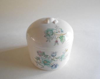 Elizabeth Arden Trinket Dish Vintage Jewelry Box Blue Flowers Green Flowers Porcelain Made in Japan Home Decor Dresser Decor Vanity Decor