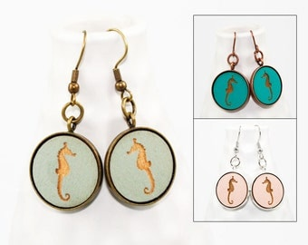 Seahorse Earrings - Laser Engraved Wood (Choose Your Color)