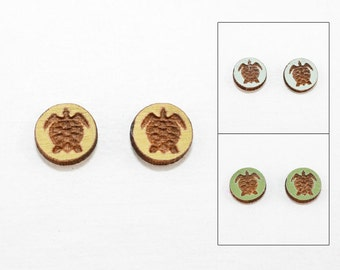Sea Turtle Earrings - Laser Cut Wooden Studs (Choose Your Color) - Animal Jewelry