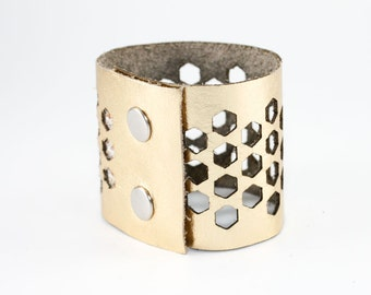 Laser Cut Leather Cuff Bracelet - Geometric Hexagon Pattern - Metallic Gold (Small, Medium, Large, XL) - Modern Jewelry - Gifts for Her