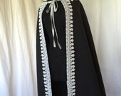 Half Circle Wool Cape -- 16th Century Inspired Renaissance Capelet in Black Wool with Gold Trim -- Unlined, Heavy Weight, Unisex, Renfaire