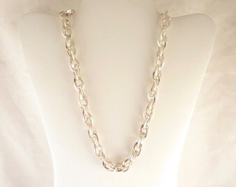 Vintage Italian Sterling Heavy Oval Link Necklace