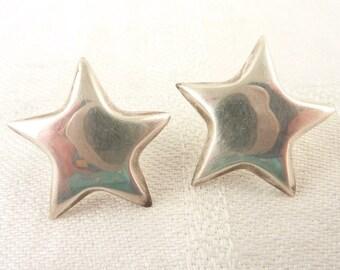 Vintage Simple Hollow Sterling Star Post Earrings