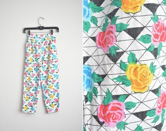 Size Youth 7/8 or Women's XXS (Short) // FLORAL PANTS // Rose Print - Cotton Pants - Vintage '80s.