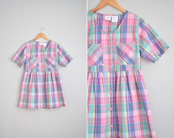 Pastel Pink Madras Plaid Babydoll Dress / Button-Front Mini Dress / Vintage '90s. Size S/M.
