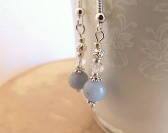 Angelite Earrings, Dangle Earrings, Handcrafted Jewelry, Sterling Silver Jewelry, Gemstone Jewelry, Angelite and Crystal