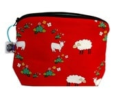 Zippered NOTIONS BAG with zipper pull -  Sheep and Goat Meadow