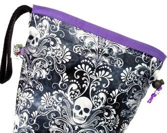 Small Knitting Project Bag Crochet Drawstring Tote WIP Bag -  Charcoal Skulls