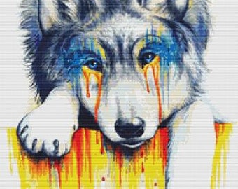 Wolf Cross Stitch Kit, Jonas Joedicke, Drowning in Tears, Jojoes Art, Counted Cross Stitch Kit