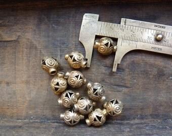 Antique scroll beads, brass