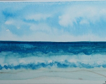 Watercolor Seaside ACEO painting
