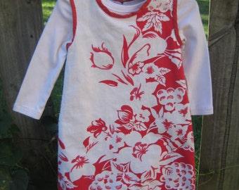 Red Flowers on White Dress/Jumper