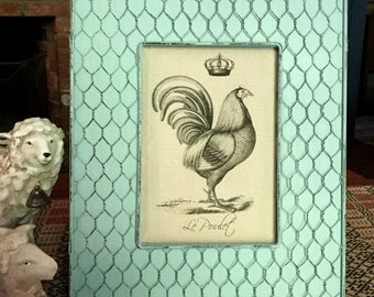 French Rooster Print | French Country Decor | Farmhouse Decor | Linen Print | Distressed Shabby Chic Frame | French Rooster with Crown