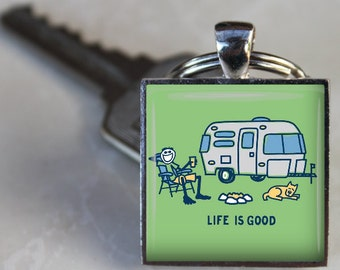 Life is Good Happy Camper Vintage AIRSTREAM Silver Bullet Happy Camper trailer RV Altered Art Glass Pendant Charm Keychain