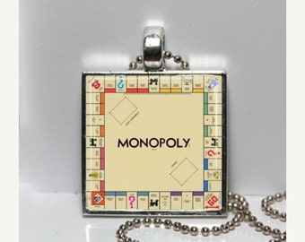 SaLe Vintage MONOPOLY Game Board Altered Art GLASS Pendant Charm Necklace