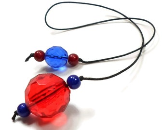 Red Blue Book Thong Beaded Bookmark Book Cord Book String Book Club Teacher Gift