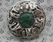 Pill Case Box Container Trinket Box Green Embellishment Comes with Pouch