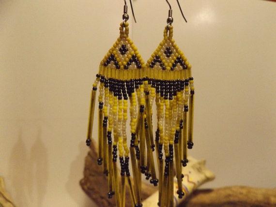 Woven Bead Work Earrings, Native American inspired Seed Bead Earrings, Woven Bead Earrings, Healing Jewelry