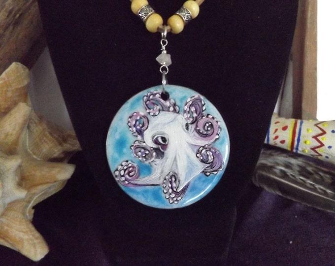 Hand Painted Pendant Neckace, Octopus Pendant, Beachwear, Beach Jewelry, Nautical Jewelry Boho Beach Jewelry, Mermaid Jewelry, Ocean Jewelry
