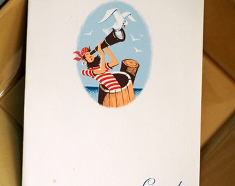 Cunard Lines Dinner Menu from the R.M.S. Carinthia - 1957 Vintage Collectible - Pirate Design