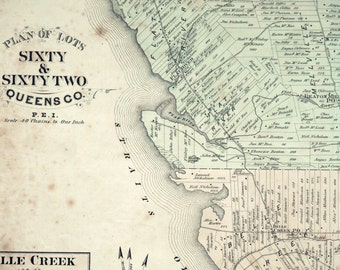 Antique Map of Prince Edward Island - Lots 60 and 62 - Queens County - 1880 PEI Map - Wood Island - Handcoloured - Home Decor