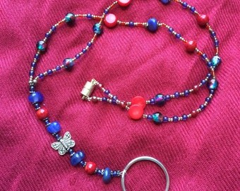 Beaded Lanyard - Blue and Red, glass and stone