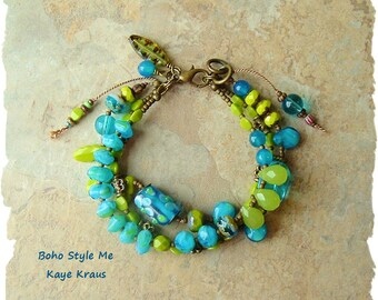 Colorful Boho Style Bracelet, Nature Inspired, Blue and Green Gemstone Glass Bracelet, Boho Style Me, Kaye Kraus