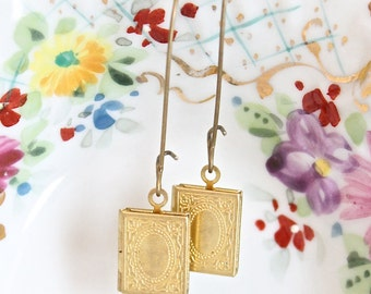 Tiny brass gold book locket earrings.  Vintage style long earrings.  Mother's Day Gift.