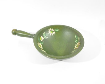 Green with Hand Painted Daisies Wood Bowl with Handle - Woodcroftery