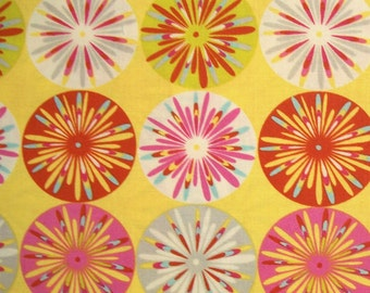 COUPON CODE SALE - End of Bolt - Dena Designs, Kumari Garden, Sashi, Pink, Free Spirit, 100% Cotton Quilt Fabric, Pink & Yellow Geometric