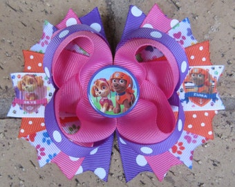 Paw Patrol inspired Custom Hair Bow m2m Costume - Great for Birthday Party-Choose a 5 inch hair bow or 2 pigtail bows - Skye Zuma