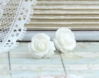 White Rose Earrings Rose Stud Earrings White Rose Studs White Flower Earrings Hypoallergenic Rose Jewelry