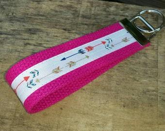 Follow Your Arrow / Archery Keychain on Pink Wristlet