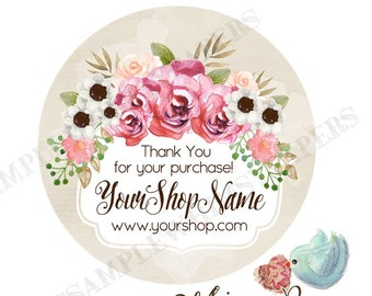 Vintage Rose Personalized Thank You Stickers, 1.5, 1.75, 2 or 2.5 Inch, Glossy Labels