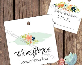 """Custom Boho Hang Tags - 2X2"""", 2.5 X 2.5"""", Feather Hang Tags, Double Sided with holes - free shipping*"""