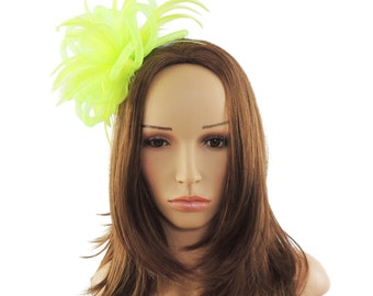 Lime Green Mini Crin Fascinator Hat for Races, Weddings, Party and Special Events on a Headband