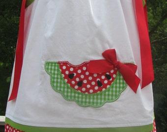 Sample Sale Half OFF watermelon Birthday Pillowcase Dress, birthday party dress, pink ladybug party dress