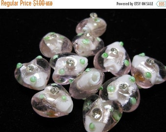 ON SALE SALE - Pink Glass Hearts with Little Rhinestones - 6 pcs