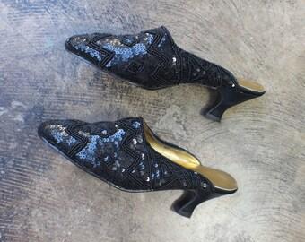 8 B Sequin MULE / Dressy Black Heeled Slides / Women's Vintage Beaded Shoes