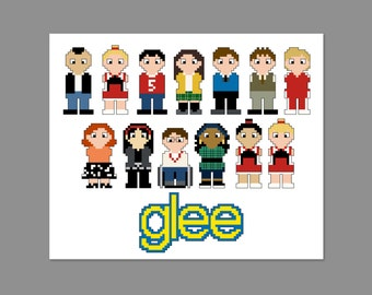 Glee Pixel People Character Cross Stitch PDF PATTERN ONLY