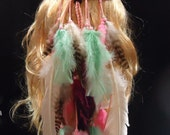 Long Peach Multi Feather Headband Native American Hippie Bohemian Coutry Western Tribal