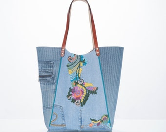 Denim Collection: sustainble upcycled floral denim Market Tote