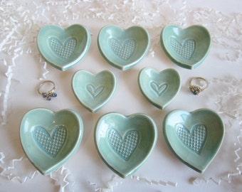 Summer SALE  8 mint green heart dishes, heart favor gifts