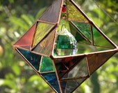 Rainbow Stained Glass 3D Hanging with crystals