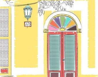 Puerto Rico Travel Poster, Puerto Rican Street art, Old San Juan, Travel print,  Old San Juan, Wall Art Print, colorful doors, Travel Poster