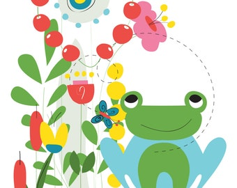 Nursery Print, Frog Nursery Decor, Frog Poster, Frog Wall Art, Nursery Art, Kids Wall Art, Baby Nursery Art, Kids Room Decor, Animal Nursery