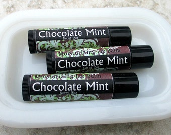 Chocolate Mint flavored Lip Balm, creamy handmade moisturizing lip balm, dry lip care, shea butter and beewax formula, sweet candy flavor