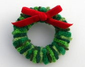 Rescued Wool Mini Wreath Pin - Greens with Red Velvet Ribbon - Recycled Mini Wreath